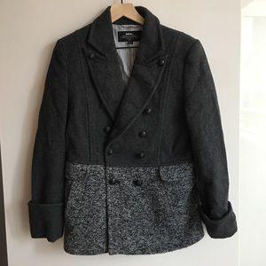 Initial wool alpaca blend coat